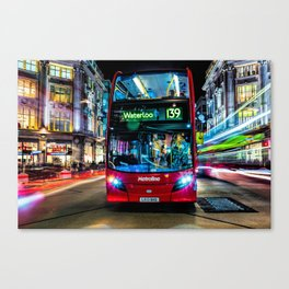 London Red Bus Colourful Canvas Print