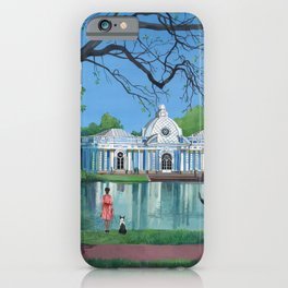 Girl in red dress walking the dog in the park. iPhone Case
