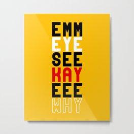 Mickey on Yellow Metal Print