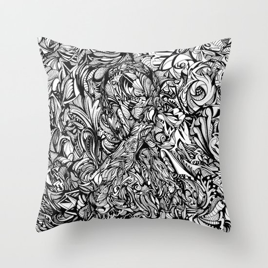 Conquer (Black & White Version)  Throw Pillow