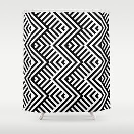 Op art pattern with striped black and white zigzags Shower Curtain