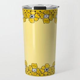 Yellow floral pattern . Travel Mug