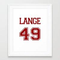 jessica lange Framed Art Prints featuring Jessica Lange Varsity by NameGame