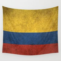 colombia Wall Tapestries featuring Old and Worn Distressed Vintage Flag of Colombia by Jeff Bartels