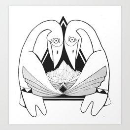 Bowing Birds Art Print