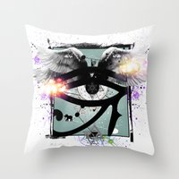 all seeing eye Throw Pillows featuring All Seeing Eye by Cody Norris