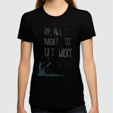 Up All Night To Get Lucky MEDIUM Black Womens Fitted Tee
