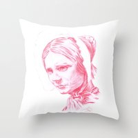 jane eyre Throw Pillows featuring Jane Eyre glowing by Jonathan Snowden