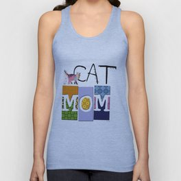 CAT MOM colorful CAT ART abstract collage art Unisex Tank Top