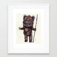 ewok Framed Art Prints featuring Ewok Kewpie by Nicole Bonita Miller