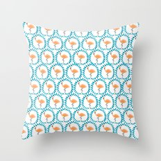 Flamingo and Leaves Throw Pillow