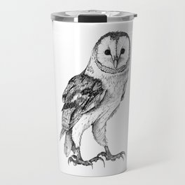 Barn Owl - Drawing In Black Pen Travel Mug