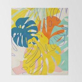 Vibrant Monstera for Matisse Throw Blanket