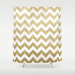 White & Gold Chevron Shower Curtain