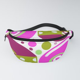 Pink cheese, retro, geometric, circles design Fanny Pack