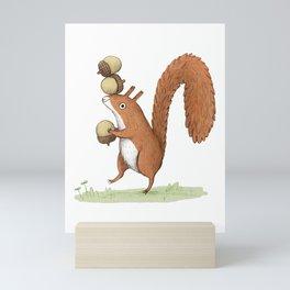 Squirrel With Acorns Mini Art Print