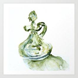 Green Depression Glass WaterColour by CheyAnne Sexton Art Print
