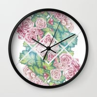 leah flores Wall Clocks featuring Flores by Barlena