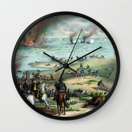 Battle Between The Monitor And Merrimac Wall Clock