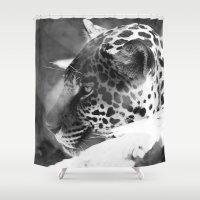 cheetah Shower Curtains featuring Cheetah by Shea Saulino