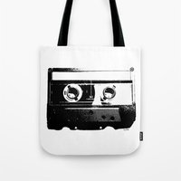 cassette Tote Bags featuring CASSETTE by by INK! - Sandie Dolleris Thomsen