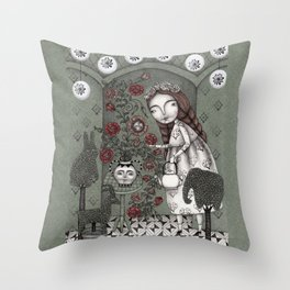 When it Snows Outside (My Secret Garden) Throw Pillow