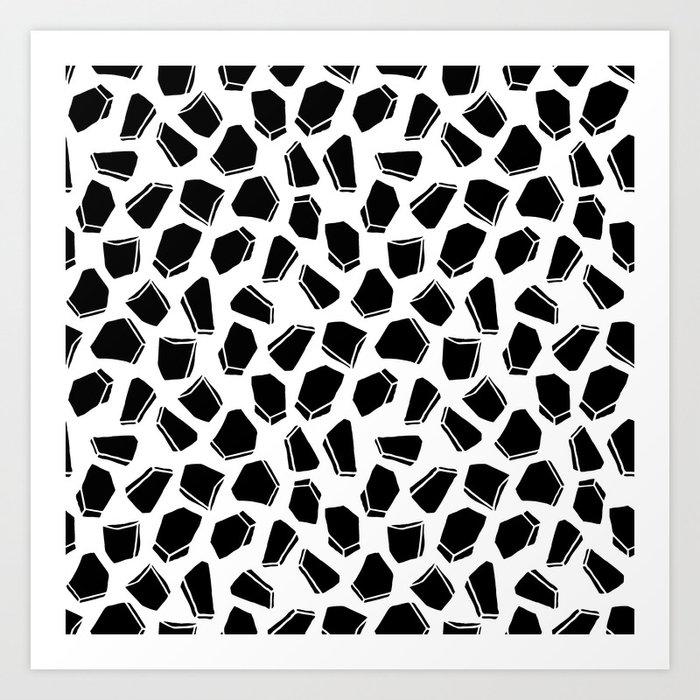 Linocut minimal black and white geometric geode scandinavian pattern design art print