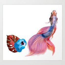 betta tropical fish monstera leaf Art Print