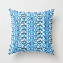 Elegant Boho Neo Tribal Sky Blue Romantic Glow Lace Throw Pillow