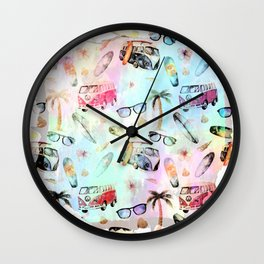 Beach time- Tropical summer watercolor pattern Wall Clock