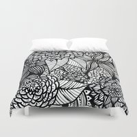 alisa burke Duvet Covers featuring doodles by Alisa Burke
