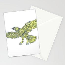 Common Raven Flying Mandala Stationery Cards