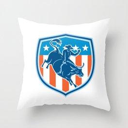 Rodeo Cowboy Bull Riding Flag Shield Retro Throw Pillow