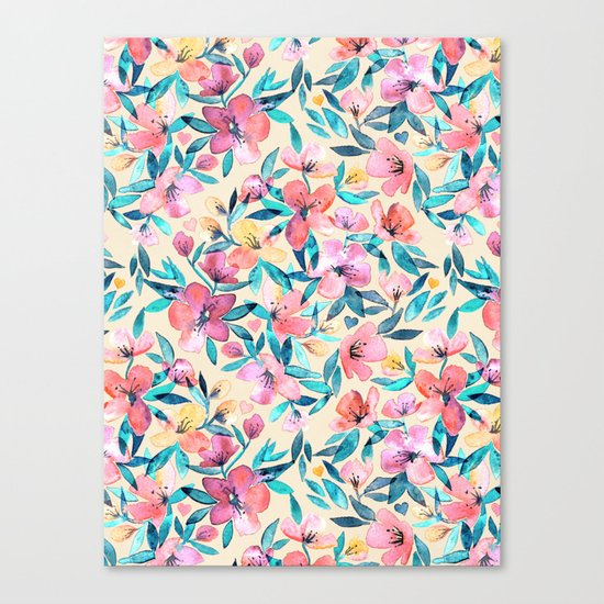 Peach Spring Floral in Watercolors Canvas Print