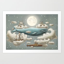 Ocean Meets Sky - colour option Art Print