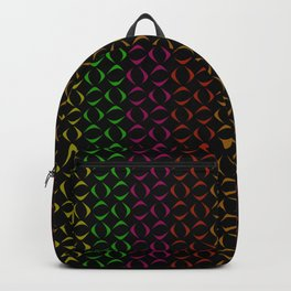 Pattern of multi-colored rhombuses and triangles. Backpack