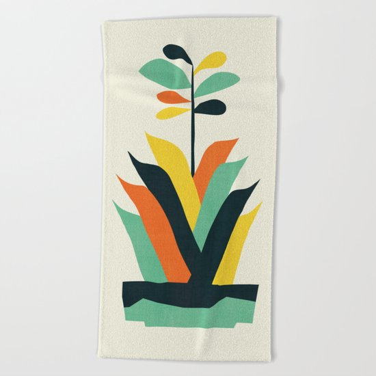 Exotic geometric plant Beach Towel