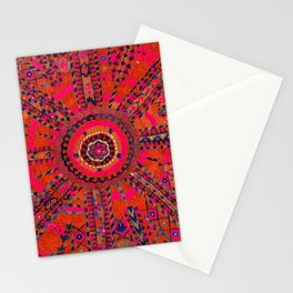 Pink Wildflower Sunshine I // 18th Century Colorful Pinkish Red Blue Sapphire Metallic Happy Pattern Stationery Cards