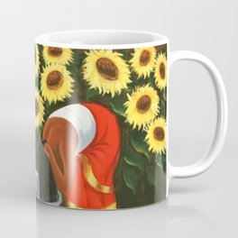 Two women in sunflower fields at sunrise landscape painting by Diego Rivera Coffee Mug