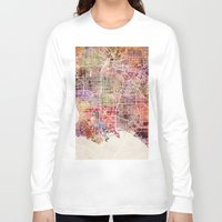 los angeles Long Sleeve T-shirts featuring Los angeles by MapMapMaps.Watercolors