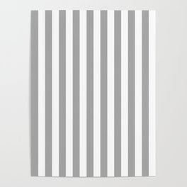 Grey and White Vertical Stripes Poster