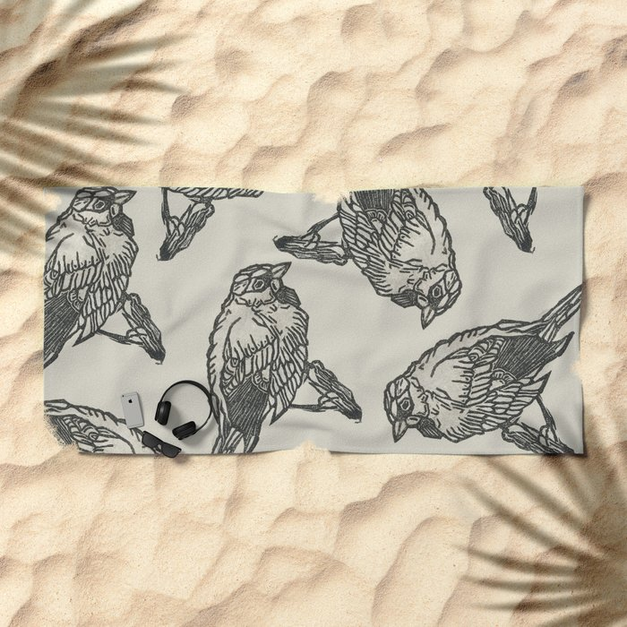 Bird Print Beach Towel