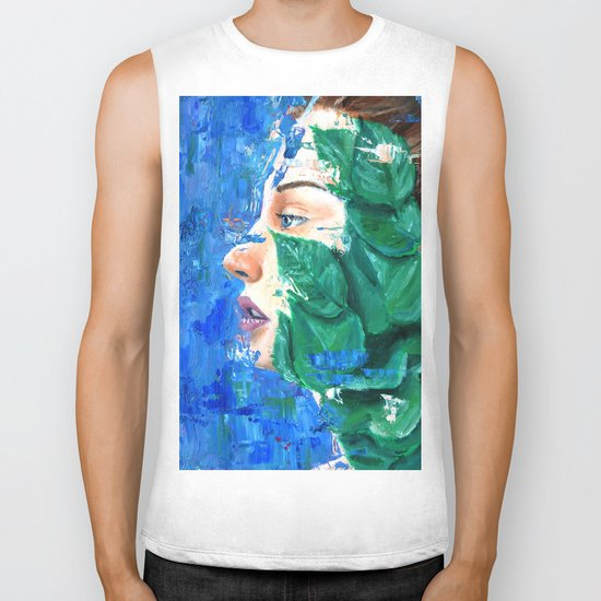 Leaves and face Biker Tank