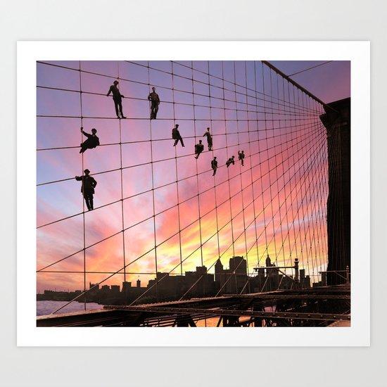 Brooklyn Bridge Painters Quitting Time Art Print