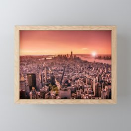 Manhattan in red Framed Mini Art Print
