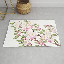 botanical pink apple blossom flowers watercolor Rug