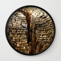 tree rings Wall Clocks featuring Tree Rings by tracy-Me