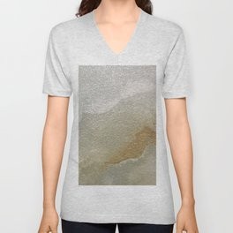 Soft Gold and Creamy Marble Pattern Unisex V-Neck