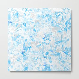 Floral Drawing in Cool Blue Watercolor and White Metal Print