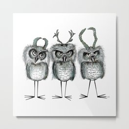 Owls with Horns Metal Print